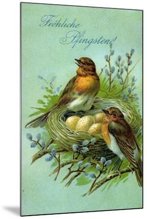 Präge Fröhliche Pfingsten, Vögel, Nest, Eier--Mounted Giclee Print