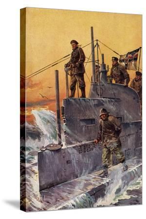 Künstler Stöwer, W., Kommandoturm, U Boot, Matrosen--Stretched Canvas Print