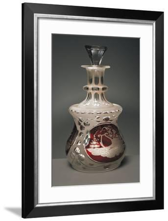 Bottle Decorated with Allegories, 1840, Crystal Glass Encased Acid-Etched Opaline Glass--Framed Giclee Print