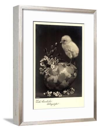 Frohe Ostern, Küken Sitzt Auf Einem Osterei,Kätzchen--Framed Giclee Print