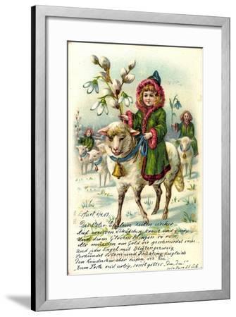 Glückwunsch Ostern, Mädchen Reitet Auf Einem Schaf--Framed Giclee Print