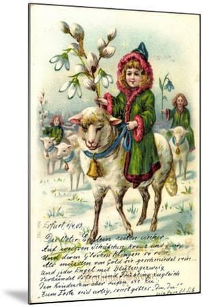 Glückwunsch Ostern, Mädchen Reitet Auf Einem Schaf--Mounted Giclee Print