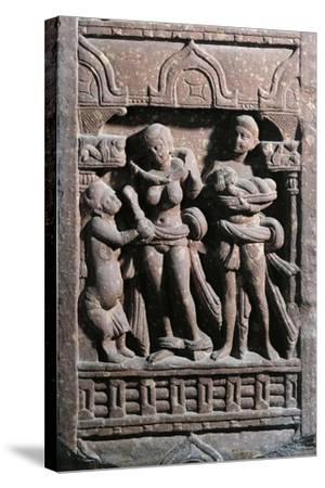 India, Haryana, Gurgaon, Sundarananda Helping Sundari with Her Toilet, Kushan Period--Stretched Canvas Print