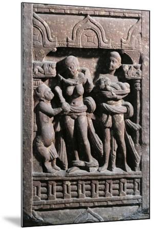India, Haryana, Gurgaon, Sundarananda Helping Sundari with Her Toilet, Kushan Period--Mounted Giclee Print