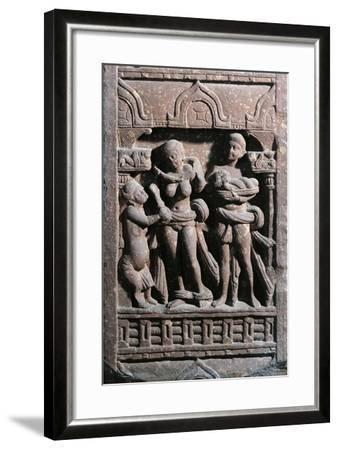 India, Haryana, Gurgaon, Sundarananda Helping Sundari with Her Toilet, Kushan Period--Framed Giclee Print