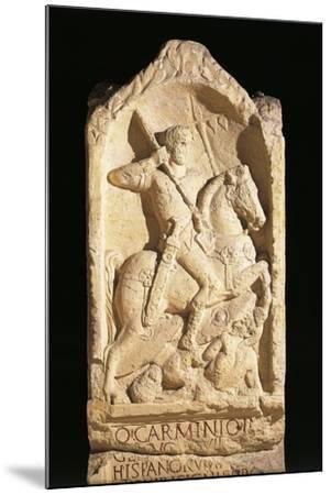 Stele of Quinto Carminio Ingenuo, Depicting Man on Horseback--Mounted Giclee Print