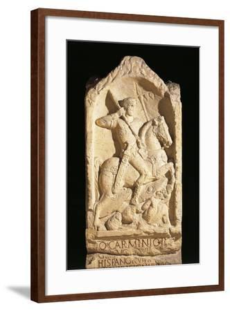 Stele of Quinto Carminio Ingenuo, Depicting Man on Horseback--Framed Giclee Print
