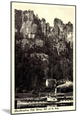 Elbsandsteingebirge, Bastei, Dampfer Karlsbad--Mounted Giclee Print