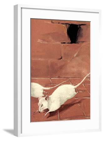 Präge Litho Zwei Weiße Mäuse, Mausloch, Ziegelwand, Albino--Framed Giclee Print
