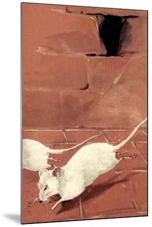 Präge Litho Zwei Weiße Mäuse, Mausloch, Ziegelwand, Albino--Mounted Giclee Print