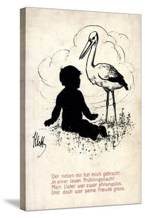 Künstler Klett, Storch Bringt Kind, Frühlingsnacht, Vater Ahnungslos--Stretched Canvas Print
