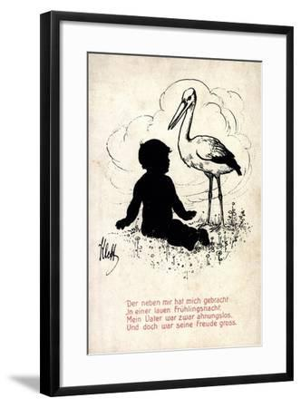 Künstler Klett, Storch Bringt Kind, Frühlingsnacht, Vater Ahnungslos--Framed Giclee Print