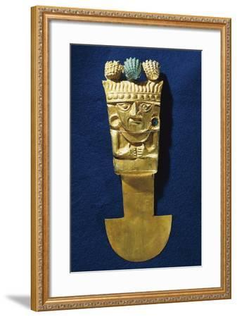 Tumi' or a Sacrificial Ceremonial Knife in Gold Portraying Naymlap, Peru, Chimu Civilization--Framed Giclee Print