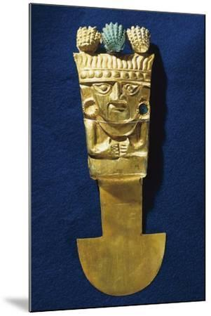 Tumi' or a Sacrificial Ceremonial Knife in Gold Portraying Naymlap, Peru, Chimu Civilization--Mounted Giclee Print