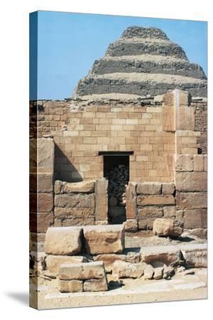 Egypt, Cairo, Saqqara Necropolis Funerary Monument to King Zoser, 'Step Pyramid', Entrance--Stretched Canvas Print