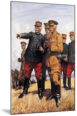 Marshal Joffre and His Chiefs of Staff--Mounted Giclee Print