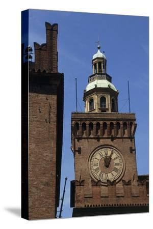 Clock Tower, Detail from Accursio Palace, Bologna, Emilia-Romagna, Italy--Stretched Canvas Print