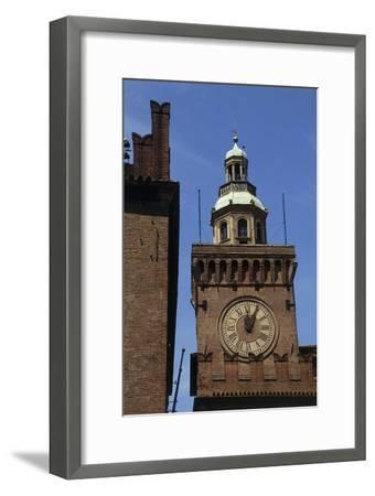 Clock Tower, Detail from Accursio Palace, Bologna, Emilia-Romagna, Italy--Framed Giclee Print
