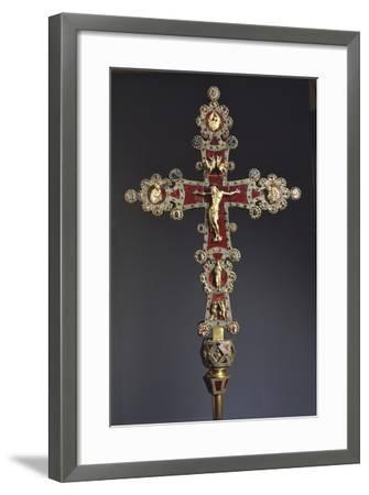 Processional Cross in Red Jasper, Gold and Gems--Framed Giclee Print