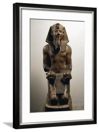Amenhotep II on His Knees, in Act of Offering Globular-Shaped Wine Jars--Framed Giclee Print