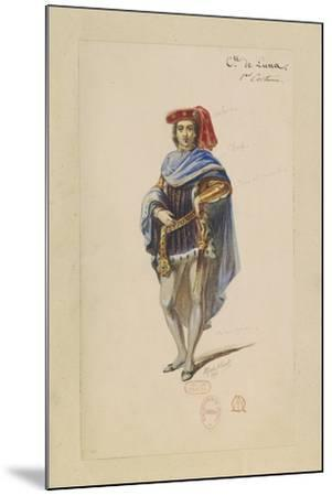 France, Paris, Costume Sketch for Count Di Luna in the Troubadour--Mounted Giclee Print