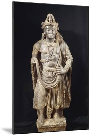 Bodhisattva, Grey Shale Greek-Style Buddhist Statue, from Peshawar Region, Pakistan--Mounted Giclee Print
