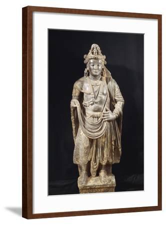 Bodhisattva, Grey Shale Greek-Style Buddhist Statue, from Peshawar Region, Pakistan--Framed Giclee Print
