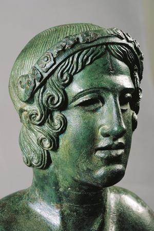 Detail of Lid of a Cinerary Urn with a Portrait of a Reclining Young Man, 400/375 B.C., Bronze--Stretched Canvas Print