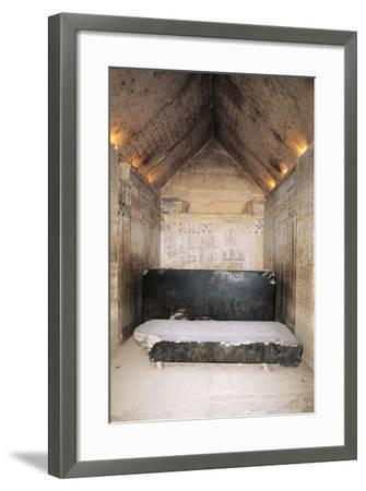 Egypt, Cairo, Ancient Memphis, Unas' Pyramid Interior, Burial Chamber and Sarcophagus--Framed Giclee Print
