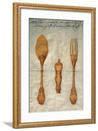 Drawing with Preparatory Study for Set of Rococo-Style Silver-Gilt Cutlery, Augusta, Ca 1750--Framed Giclee Print
