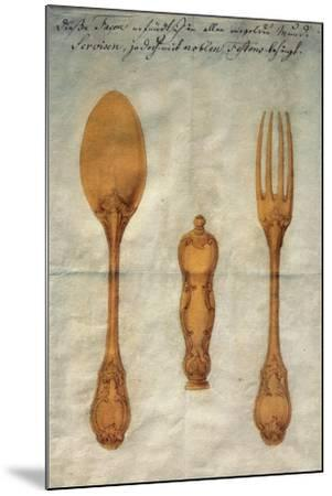 Drawing with Preparatory Study for Set of Rococo-Style Silver-Gilt Cutlery, Augusta, Ca 1750--Mounted Giclee Print