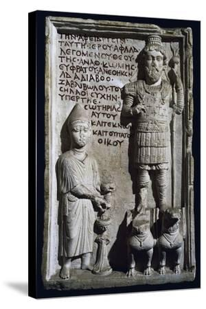 Relief with Inscription and Depiction of God Aphlad from Damascus, Syria--Stretched Canvas Print
