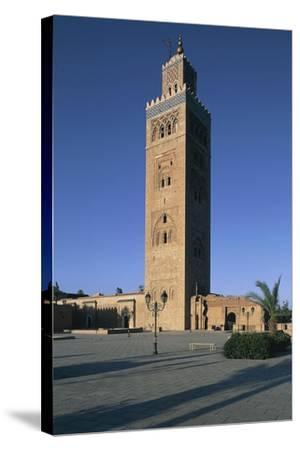 Minaret of Koutoubia Mosque or Kutubiyya Mosque, Marrakech Medina , Marrakech-Tensift-El Haouz--Stretched Canvas Print