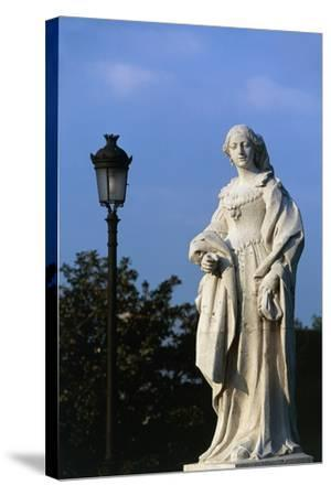 Statue of Woman, Royal Palace and Sabatini Gardens, Madrid, Spain--Stretched Canvas Print