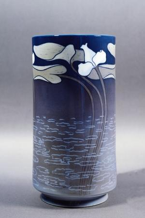 Vase Decorated with Pond and Water Lilies in Bloom--Framed Giclee Print