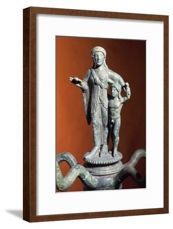 Candelabra Shaped Cymatium Surmounted with Woman with Child--Framed Giclee Print