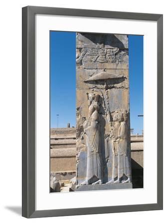 Iran, Persepolis, Council Hall 'Tripylon', Relief of King Darius--Framed Giclee Print