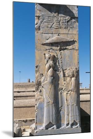 Iran, Persepolis, Council Hall 'Tripylon', Relief of King Darius--Mounted Giclee Print