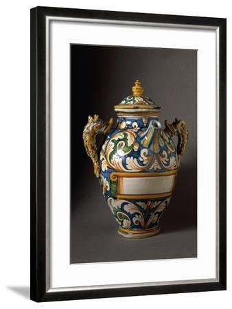 Bulbous Apothecary Jug Decorated with Plant Scrolls--Framed Giclee Print