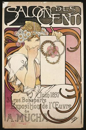 Poster Advertising Salon Des Cent Exhibition by Alphonse Mucha, 1897--Stretched Canvas Print