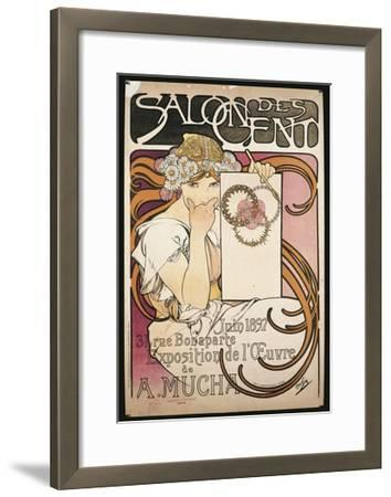 Poster Advertising Salon Des Cent Exhibition by Alphonse Mucha, 1897--Framed Giclee Print