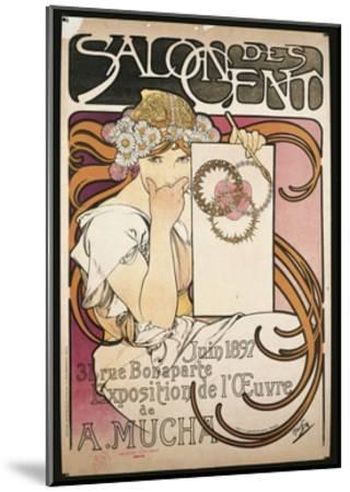 Poster Advertising Salon Des Cent Exhibition by Alphonse Mucha, 1897--Mounted Giclee Print