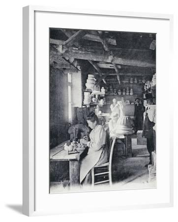 Craftsmen at Work Making Vallauris Art Pottery, Circa 1900, Postcard, France--Framed Giclee Print