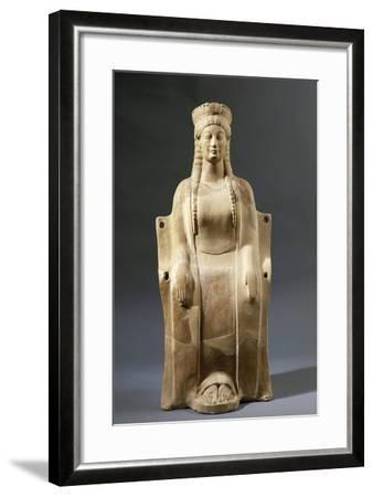 Italy, Calabria, Locri, Mannella Hill, Goddess Seated on Throne--Framed Giclee Print
