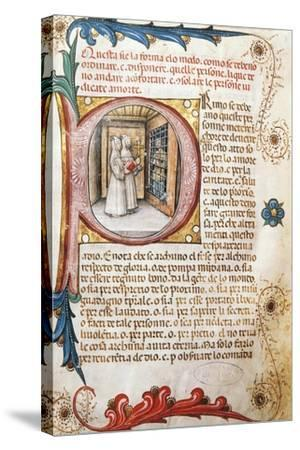 Comforting the Condemned, Illuminated Page from the Ritual of the Brethrens from the Mercy of Genoa--Stretched Canvas Print