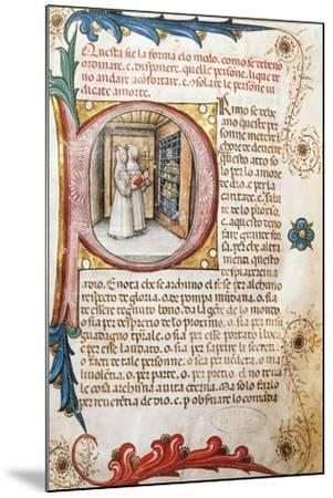 Comforting the Condemned, Illuminated Page from the Ritual of the Brethrens from the Mercy of Genoa--Mounted Giclee Print