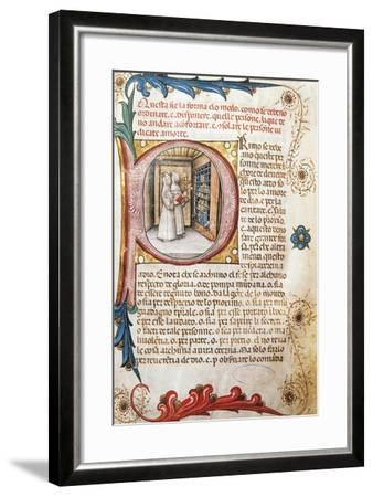 Comforting the Condemned, Illuminated Page from the Ritual of the Brethrens from the Mercy of Genoa--Framed Giclee Print