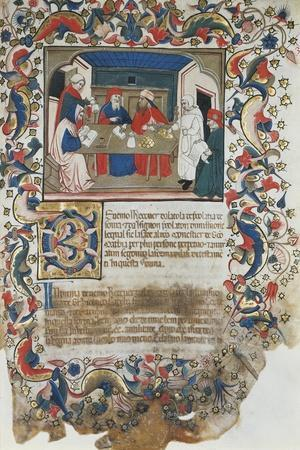 Businessmen Closing Deal, Miniature from Code of the Register of Maffio, 1391, Italy 14th Century--Stretched Canvas Print