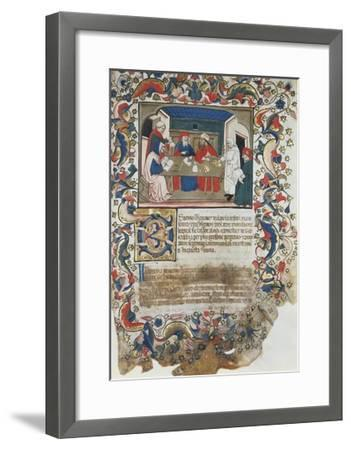 Businessmen Closing Deal, Miniature from Code of the Register of Maffio, 1391, Italy 14th Century--Framed Giclee Print