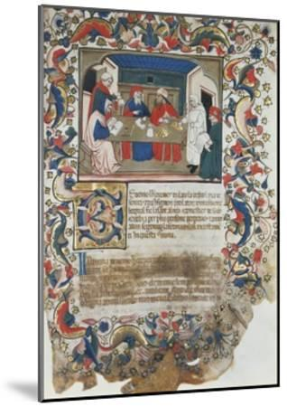 Businessmen Closing Deal, Miniature from Code of the Register of Maffio, 1391, Italy 14th Century--Mounted Giclee Print